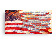 Woodrow Wilson Quote on Flag Canvas Print