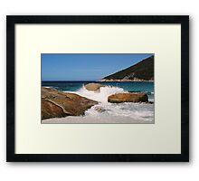 Rocky scene at Little Beach Framed Print