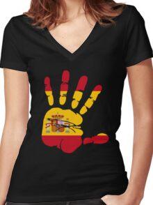 Spain flag in handprint Women's Fitted V-Neck T-Shirt