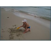EASY DIGGING on the beach Photographic Print