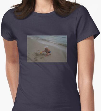 EASY DIGGING on the beach Womens Fitted T-Shirt