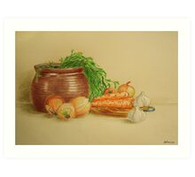 Still life with carrots and onions Art Print