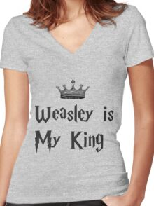 Weasley is my king Women's Fitted V-Neck T-Shirt