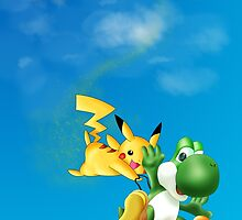 Yoshi and Pikachu by PhillipLove