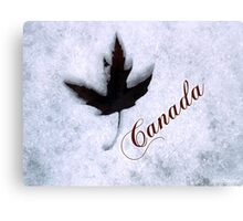 Red Maple Leaf Snow Canada Canvas Print