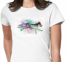 Marble Fox Color Splash Womens Fitted T-Shirt