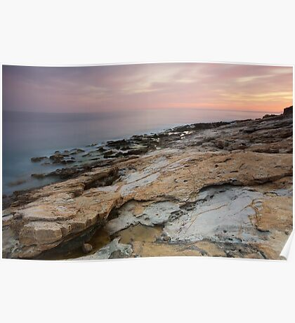 Mediterranean dusk at Bau Rouge beach Poster