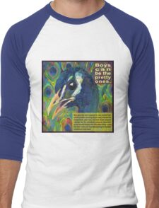 Impractical fashion, guy edition (Blue peafowl) Men's Baseball ¾ T-Shirt