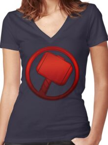 Thor - The Mighty Thor's Hammer Women's Fitted V-Neck T-Shirt