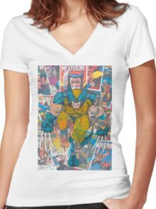 Vintage Comic Wolverine Women's Fitted V-Neck T-Shirt