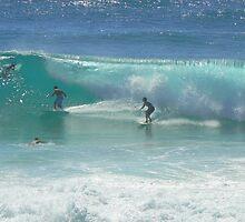 Surfing at Burleigh Heads #1 by Virginia McGowan