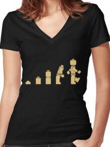 Evolution of Lego Man Women's Fitted V-Neck T-Shirt