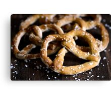 Bavarian Salted Fresh Dough Pretzels on Rustic Wood Canvas Print