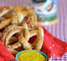 Salt Pretzels with Mustard and Beer Stein on Red Checker Tablecloth by HotHibiscus