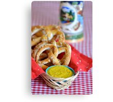 Salt Pretzels with Mustard and Beer Stein on Red Checker Tablecloth Canvas Print