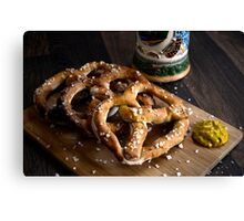 Authentic German Pretzels with Beer Stein and Mustard on Wood Canvas Print