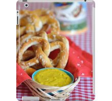 Salt Pretzels with Mustard and Beer Stein on Red Checker Tablecloth iPad Case/Skin