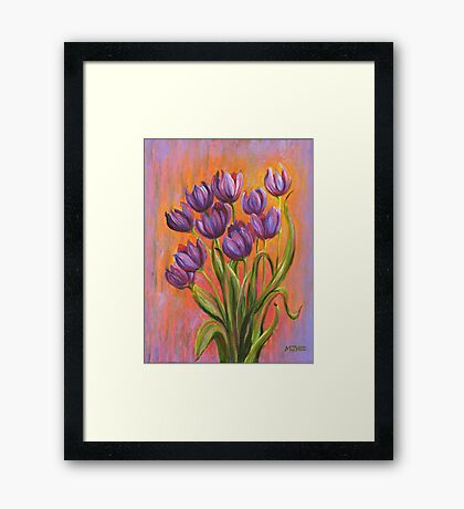 Acrylic painting, purple tulips contemporary flowers art Framed Print