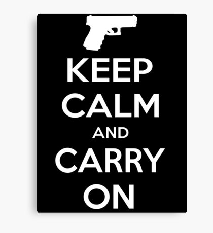 Keep Calm And Carry On - Hand Gun Canvas Print