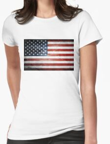 American Wooden Flag Womens Fitted T-Shirt