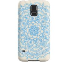 Pale Blue Pencil Pattern - hand drawn lace mandala Samsung Galaxy Case/Skin