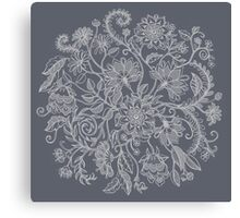 Jacobean-Inspired Light on Dark Grey Floral Doodle Canvas Print
