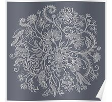 Jacobean-Inspired Light on Dark Grey Floral Doodle Poster