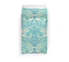 Botanical Geometry - nature pattern in blue, mint green & cream Duvet Cover