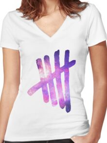5SOS Tally (Galaxy) Women's Fitted V-Neck T-Shirt
