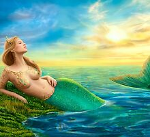 Beautiful  fantasy mermaid at sunset by Alena Lazareva