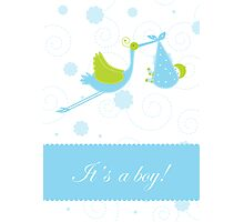 Baby boy arrival announcement card Photographic Print