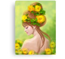 Spring woman in yellow flowers Canvas Print