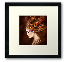 Fantasy Portrait beautiful woman butterfly Framed Print