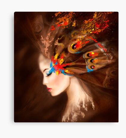 Fantasy Portrait beautiful woman butterfly Canvas Print