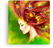 Fantasy Portrait beautiful woman green summer spring butterfly Canvas Print