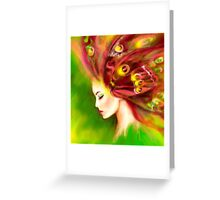Fantasy Portrait beautiful woman green summer spring butterfly Greeting Card