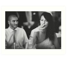 Beautiful young lady in wedding smoking black and white  photo Art Print