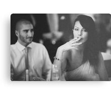 Beautiful young lady in wedding smoking black and white  photo Metal Print