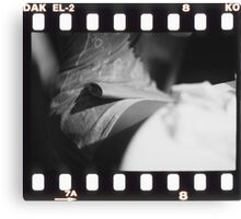 Sensual young lady in short skirt in wedding black and white slide film 35mm analog Canvas Print