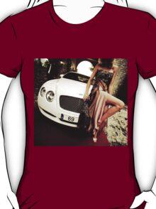 Sensual young lady 69 Sixty Nine Bentley sports car Marbella T-Shirt