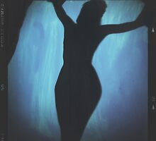 Young lady nude silhouette medium format analog erotic mixed media by edwardolive