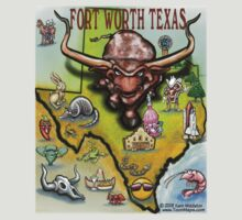 Fort Worth Texas Cartoon Map by Kevin Middleton