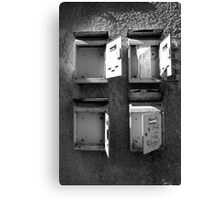 Old mailboxes Black and White Image Canvas Print
