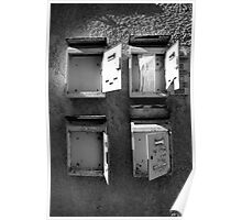 Old mailboxes Black and White Image Poster