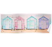 Fun at 593 Pastel Striped Wooden Beach Huts Poster