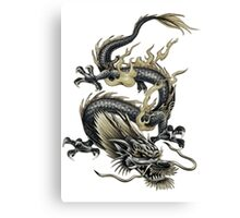 Lucky Chinese Dragon In Grey and Gold Canvas Print