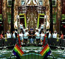 Getting ready for Gay Pride March by Ellen Turner