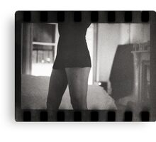 Young lady in bedroom 35mm analog silver gelatin photograph Canvas Print