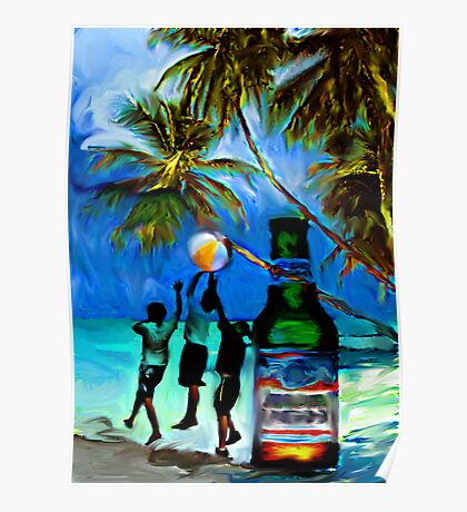 Beach,Breeze,Ball,Boys,Beer By Buzzy~ Poster