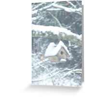 Birdhouse in the snow Greeting Card